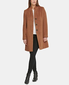 DKNY Single-Breasted Wool-Alpaca Blend Walker Coat