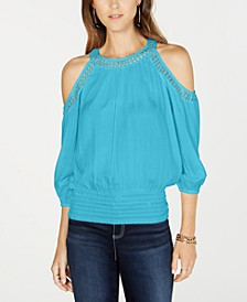INC Petite Smocked Cold-Shoulder Top, Created for Macy's