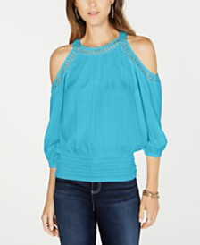 I.N.C. Petite Smocked Cold-Shoulder Top, Created for Macy's