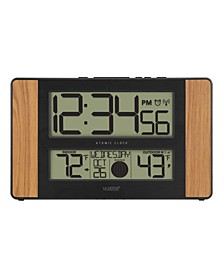 Atomic Digital Clock with Temperature and Moon Phase, Oak finish