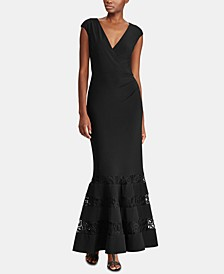 Lace-Trim Jersey Evening Gown