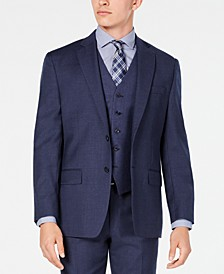 Men's Classic/Regular Fit Airsoft Stretch Blue Flannel Suit Jacket