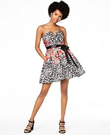 Juniors' Strapless Fit & Flare Dress