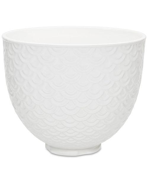 KitchenAid 5-Qt. White Mermaid Lace Ceramic Bowl KSM2CB5TWM