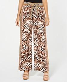 I.N.C. Printed Wide-Leg Pants, Created for Macy's