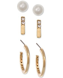Gold-Tone 3-Pc. Set Crystal & Imitation Pearl Earrings