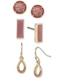 Gold-Tone 3-Pc. Set Crystal & Stone Earrings