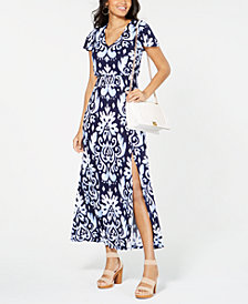 I.N.C. Printed Smocked-Waist Maxi Dress, Created for Macy's
