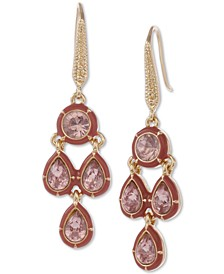 Gold-Tone Crystal & Stone Chandelier Earrings