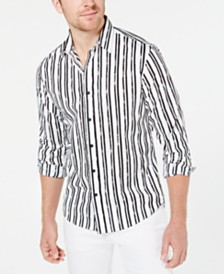 Michael Kors Men's Slim-Fit Stretch Broken Stripe Shirt