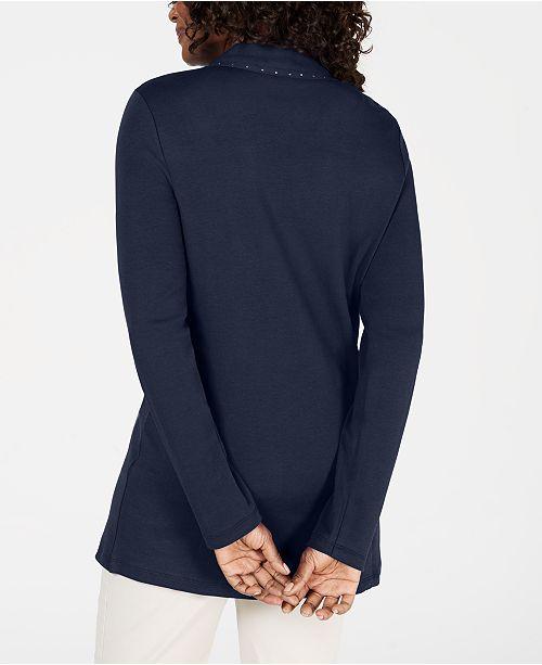 Karen Scott Petite Cotton Studded Cardigan, Created for Macy's
