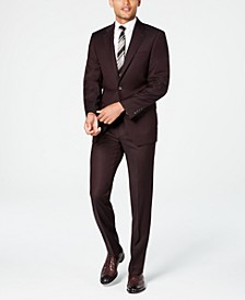 Men's X-Fit Slim-Fit Stretch Burgundy Textured Suit Separates