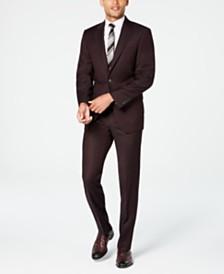 Calvin Klein Men's X-Fit Slim-Fit Stretch Burgundy Textured Suit Separates