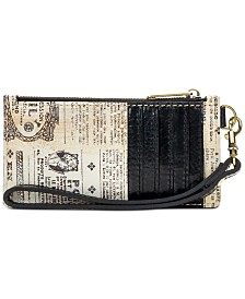 Patricia Nash Almeria Newspaper-Print Leather Wristlet