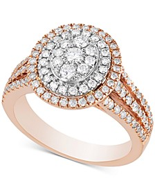 Diamond Multi-Halo Cluster Engagement Ring (1 ct. t.w.) in 14k Rose Gold & White Gold