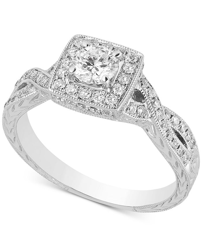 Macy's - Diamond Square Halo Engagement Ring (7/8 ct. t.w.) in 14k White Gold