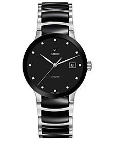 Women's Swiss Automatic Centrix Diamond-Accent Black Ceramic & Stainless Steel Bracelet Watch 38mm