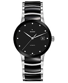 Rado Women's Swiss Automatic Centrix Diamond-Accent Black Ceramic & Stainless Steel Bracelet Watch 38mm