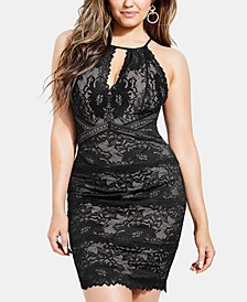 Metallic Lace Keyhole Dress