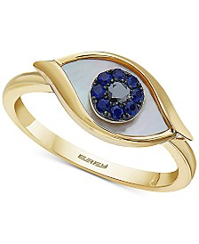 EFFY® Mother-of-Pearl, Sapphire (1/10 ct. t.w.) & Diamond Accent Evil-Eye Ring in 14k Gold