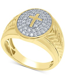Men's Diamond Cross Ring (3/4 ct. t.w.) in 10k Gold