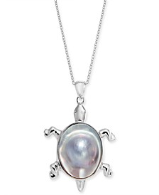 "Cultured Mabé Pearl Turtle 18"" Pendant Necklace in Sterling Silver"