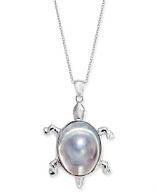 """Cultured Mabé Pearl Turtle 18"""" Pendant Necklace in Sterling Silver"""