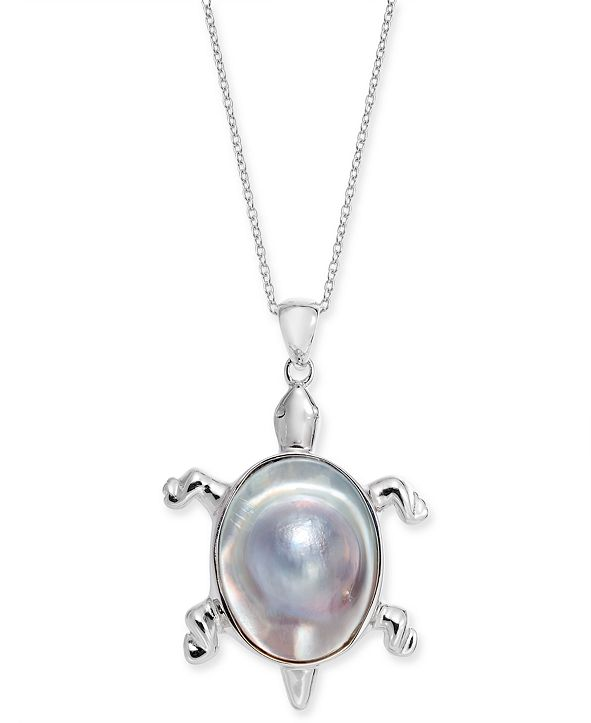 """Macy's Cultured Mabé Pearl Turtle 18"""" Pendant Necklace in Sterling Silver"""