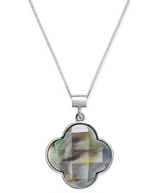 "Mother of Pearl Clover 18"" Pendant Necklace in Sterling Silver"