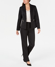 Le Suit Pinstriped Zip-Pocket Pantsuit