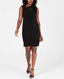 JM Collection Embellished-Neck A-Line Dress, Created for Macy's