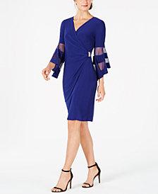 R & M Richards Rhinestone Faux-Wrap Dress