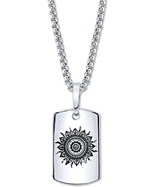 "Sun Motif Dog Tag Pendant Necklace In Stainless Steel, 24"" Chain"