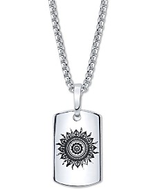 "He Rocks Sun Motif Dog Tag Pendant Necklace In Stainless Steel, 24"" Chain"