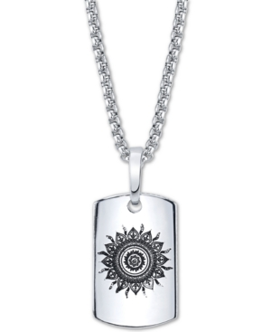 Sun Motif Dog Tag Pendant Necklace In Stainless Steel