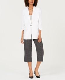 Alfani Button Front Blazer & Printed Culotte Pants