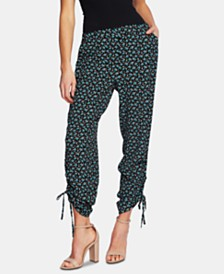 CeCe Marrakesh Floral-Print Ruched-Hem Pants