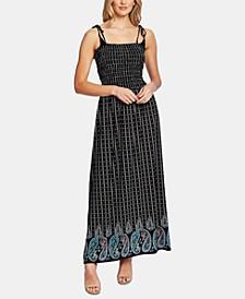 Paisley-Print Smocked Dress