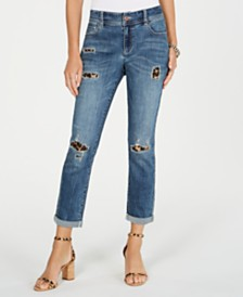 I.N.C. Destructed Animal-Print Curvy-Fit Boyfriend Jeans, Created for Macy's