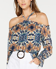 I.N.C. Tie-Dyed Cold-Shoulder Blouse, Created for Macy's