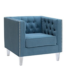 Ariel Upholstered Button Tufted Silver Nailhead Accented Living Room Tuxedo Arm Chair with Clear Acrylic Leg