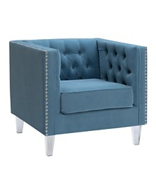 AC Pacific Ariel Upholstered Button Tufted Silver Nailhead Accented Living Room Tuxedo Arm Chair with Clear Acrylic Leg
