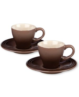 Le Creuset Set Of 2 Espresso Cups And Saucers