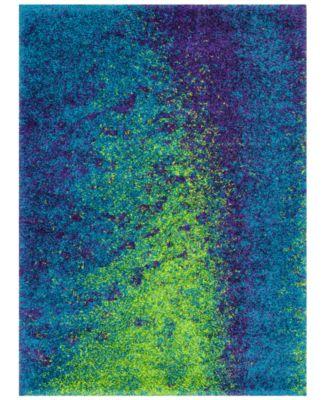"""Area Rug, Barcelona Shag BS03 Peacock/Lime 7'7"""" x 10'5"""""""