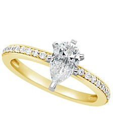 Certified Pear Shape Diamond Engagement Ring (1 ct. t.w.) in 14k White Gold, Rose Gold, or Yellow Gold