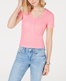 Juniors' V-Neck Henley Top