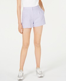 MICHAEL Michael Kors Linen & Cotton Pleated Shorts