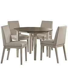 Clarion 5-Piece Round Drop Leaf Dining Set with Upholstered Chairs