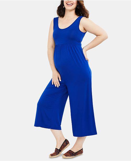 Motherhood Maternity Cropped Wide-Leg Jumpsuit