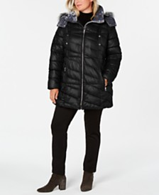 Marc New York Plus Size Hooded Faux-Fur-Trim Puffer Coat